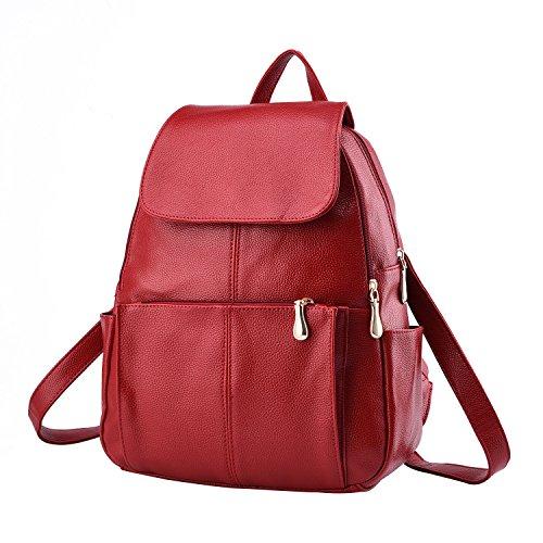 WTUS Mujer Colecciones de invierno y Pu lavado de cuero negro con mochila mochila de superficie blanda Rojo
