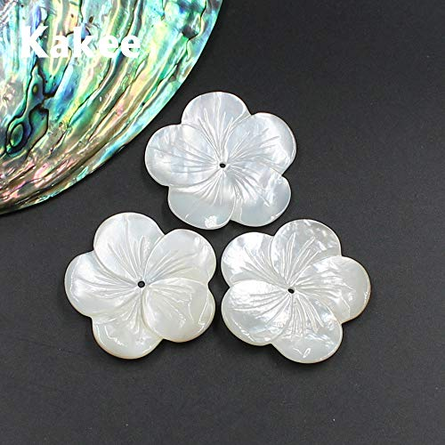 (Pukido Natural Carved Mother of Pearl White Flower Jewelry Making Finding Shell Beads for DIY Fashion Brooches Earrings Materials)