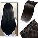Hair Extension Clip On 50 grams Real Human Hair Extensions 1 pcs with 5 Clips Instant Volume And Thickness Straight | Hair Extension For Women