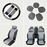 70 impala steering wheel - Car Seat Cover,Stretchy Universal Seat Cushion w/Headrest/Steering Wheel/Shoulder Pads 100% Breathable Automotive Accessories with Durable Washable Embossed cloth for Most Cars Trucks Vans(Black/Gray)