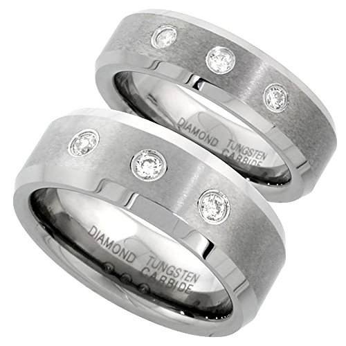 6 & 8 mm Tungsten Diamond Wedding Ring Set for Him and Her 3 stone Matte Beveled Comfort fit, size 4.5