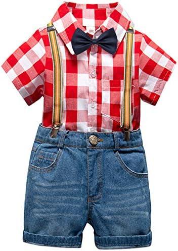 MEXIAOYOU ベビー服 フォーマル ワインシャツ サロペットハーフパンツ 蝶ネクタイ チェック柄 半袖シャツ 結婚式 size 100 (赤いグリッド)