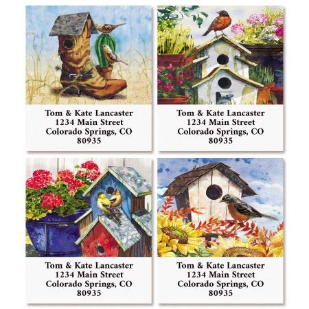 (Country Birdhouses Select Return Address Labels (4 Designs) - Set of 144 1-1/8