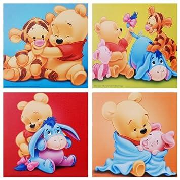 4 X Disney Wandbild Auf Leinwand Von Baby Winnie The Pooh Tigger Iaah Und Ferkel Je 35 X 35 Cm Kunstdruck Auf Holz Rahmen