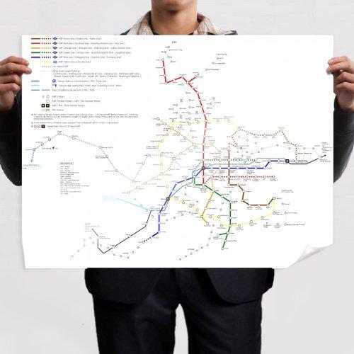 Taipei Metro Rapid Transit Map art print poster (80x60cm)