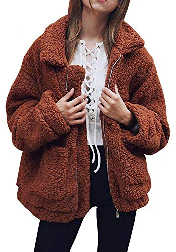 OopStyle Women Oversize Faux Fur Shearling Sherpa Fleece Jacket Blouse Outwear Caramel ()
