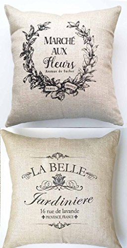 Evelyn Hope Collection French Market Design Linen Throw Pillow-Paris Pillow-French Sayings-French Pillow-French Quotes-French Country Pillow