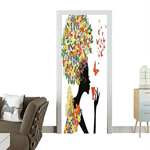 (Door Sticker Wall Decals Silhouette with Hot Tea Cup Butterflies Wings Daisies Poppy Hibiscus Hairstyle Easy to Peel and StickW36 x H79)