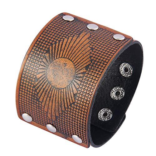 Jeilwiy Genuine Leather Cuff Bracelet Punk Braided Bracelets Rock Leather Wristbands Adjustable Belt Wrap Bracelet Handmade Jewelry for Men, Boy, Kids, Biker, Women (Leather Biker Belt)