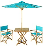 Zew Handmade 4-Piece Bamboo Folding Bistro Set with Square Table, 2 Director Chairs and Umbrella, Celadon