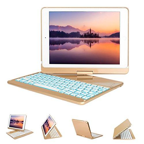 New iPad 9.7 Keyboard Case, GreenLaw 7 Color Backlit Keyboard Case Cover 360° Rotate Smart Keyboard Case with Auto Wake/Sleep for iPad pro 9.7, 2017 New iPad 9.7, iPad Air, iPad Air 2 (gold)