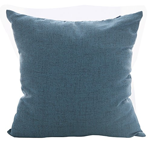 Deconovo Kids Pillowcases Blue Toss Throw Cushion Cover Faux Linen Look Pillow Case for Decoration 18 x 18 Inch Indigo Blue No Pillow Insert