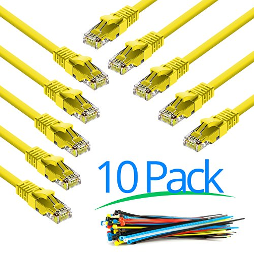 maximm-1-foot-10-pack-yellow-snagless-cat6-ethernet-cable-with-cable-ties