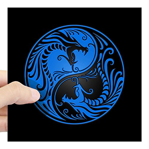 CafePress Blue Yin Yang Dragons with Black Back Sticker Square Bumper Sticker Car Decal, 3