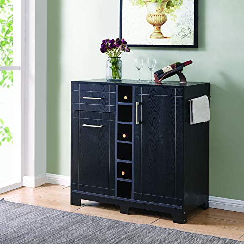 BELLEZE Vietti Bar Cabinet for Liquor and Wine Bottle Storage with Metal Handle Drawers in Black Oak