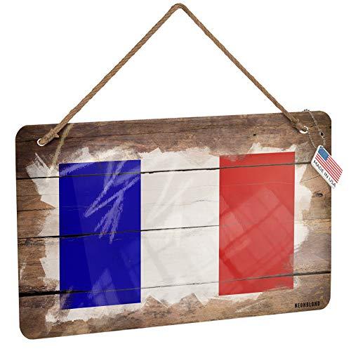 NEONBLOND Metal Sign French Flag Christmas Wood Print -