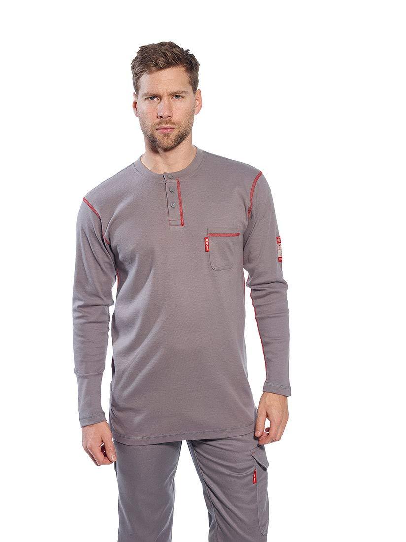 Portwest FR02GRRL Crew Neck Button T-Shirt, Fabric, Large, Grey