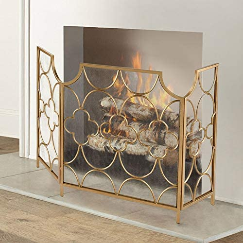 暖炉スクリーン 折りたたみゴールドファイアスパークガードのログウッドバーナー、3パネル暖炉スクリーンフレイムガード付きメッシュカバー&花柄のデザイン