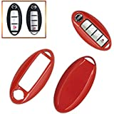 Smart Remote Key Fob Case Cover Shell 3 4 5 Buttons Gloss/Fros Metallic Painted PlasticKey Cover For NISSAN (Red)