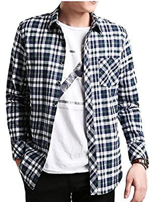 Gocgt Men's Business Plaid Slim Button Down Tunic Shirts