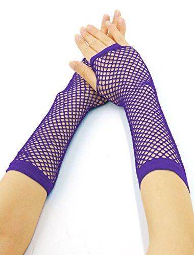 [Women Elbow Length Fingerless Fishnet Gloves 2 Pairs Purple] (Purple Wrist Length Fishnet Gloves)
