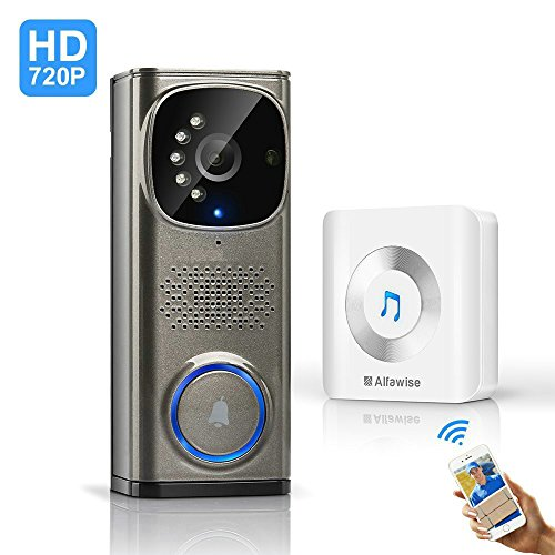 HQTECHFLY Wi-Fi Video Doorbell Wireless Doorbell 720p HD 2.4Ghz WiFi Security NVR Camera with Motion Detection and Night Vision Function For Sale