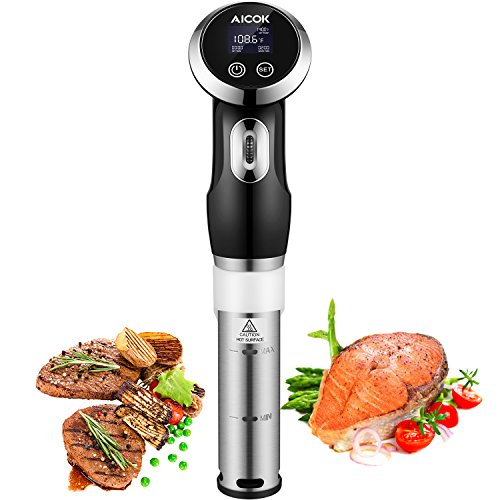 Aicok Sous Vide Cooker, 1000W Thermal Immersion Circulator with Accurate Time and Temperature Control, Digital Display Timer, Stainless Steel, Ultra (1000 Thermal)