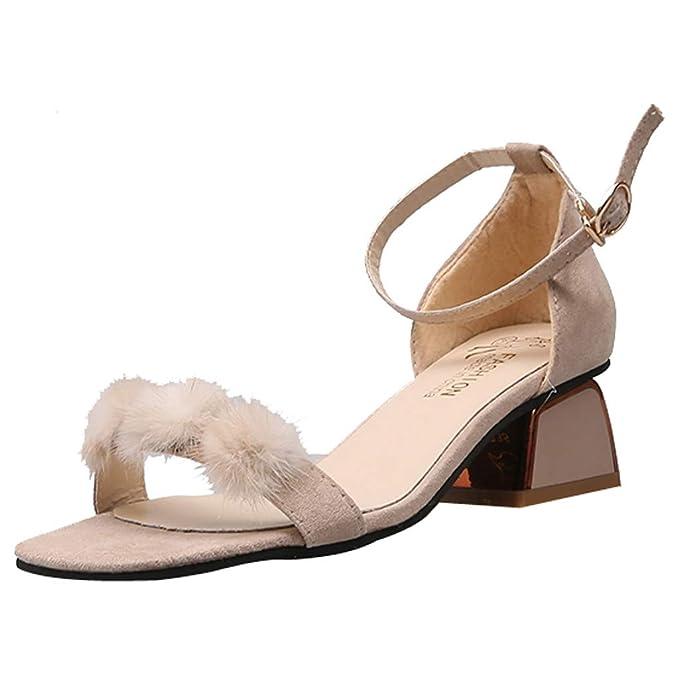 Sandalias de tacón Alto, Moda para Mujer Hebilla de Tobillo ...