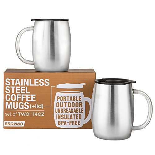 Stainless Steel Coffee Mugs with Lid  - 14 oz Double Walled