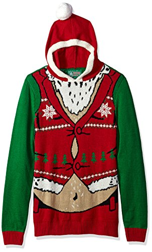 Ugly Christmas Sweater Company Men's Hoodie-Belly Santa, Jolly Green, -