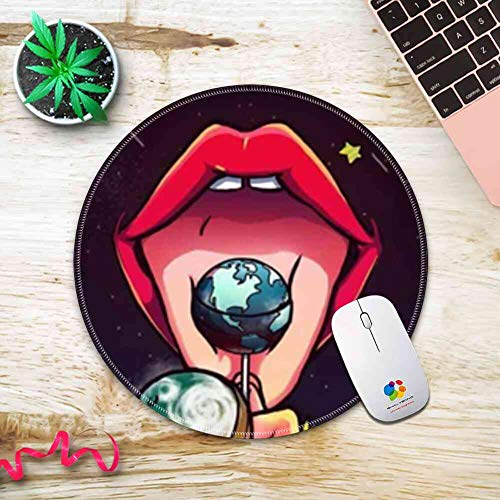 Mouse Pad Round Stitched Edges Red Lips Lovely 260mm210mm3mm -
