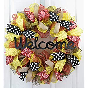 Welcome Wreath | Summer Wreath | Spring Mesh Front Door Wreath; Black Jute Red Yellow P8 23