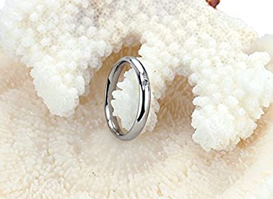 JJ WAY Stainless Steel Ring Cubic Zirconia Wedding Engagement Rings 2 Pcs a Set 3MM