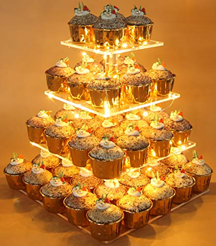 Vdomus Pastry Stand 4 Tier Acrylic Cupcake Display Stand with LED String Lights Dessert Tree Tower for Birthday/Wedding Party (Warm) (Fancy Cake Stand)