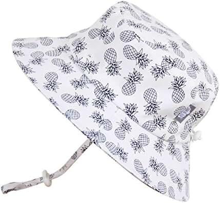 Baby Toddler Kids Sun Hat with Chin Strap, Adjustable Head Size, 50+ UPF Cotton Brim or Bucket Hat