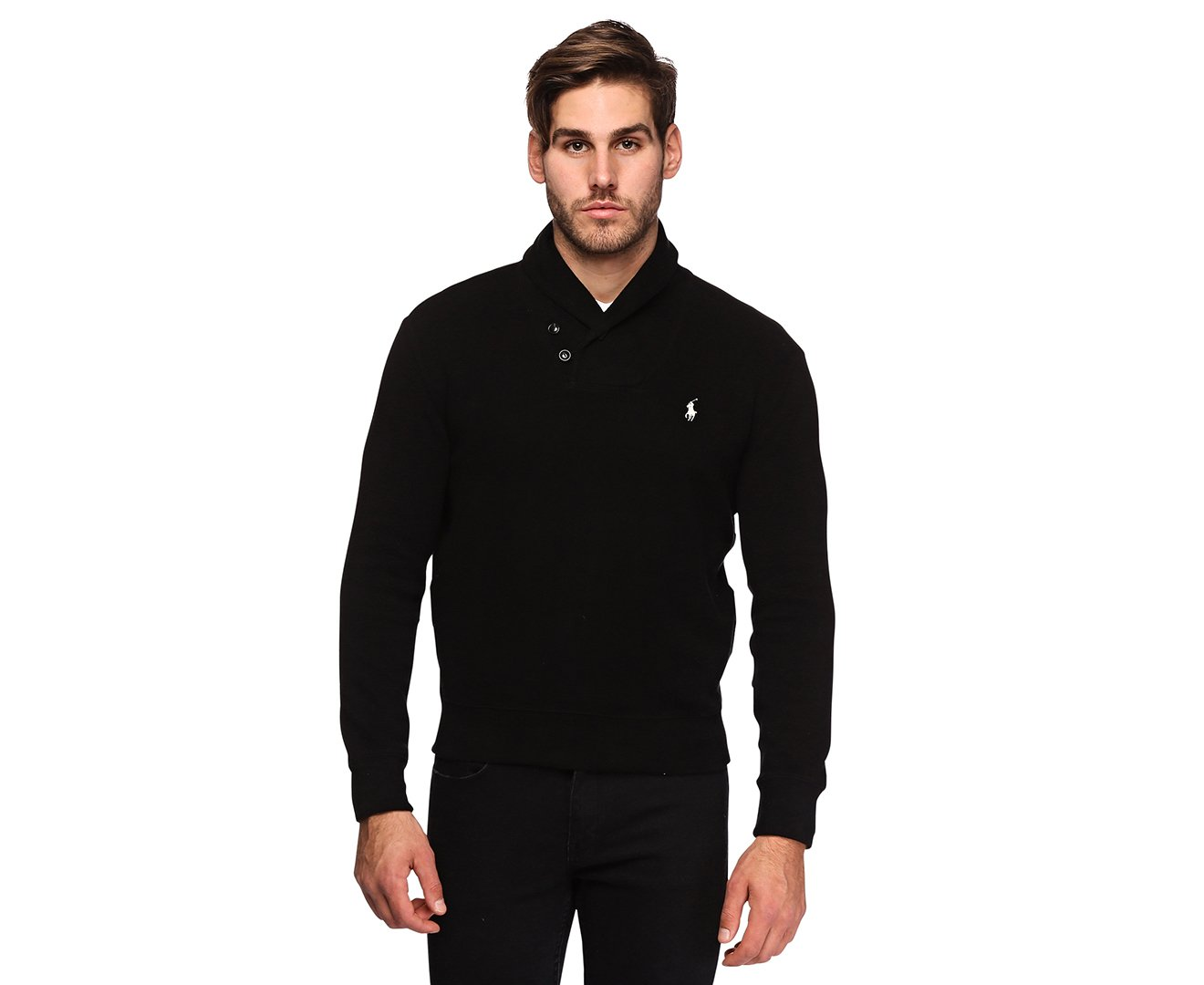 Polo Ralph Lauren Mens French Rib Shawl Neck Sweater (Medium, Polo Black) by Polo Ralph Lauren