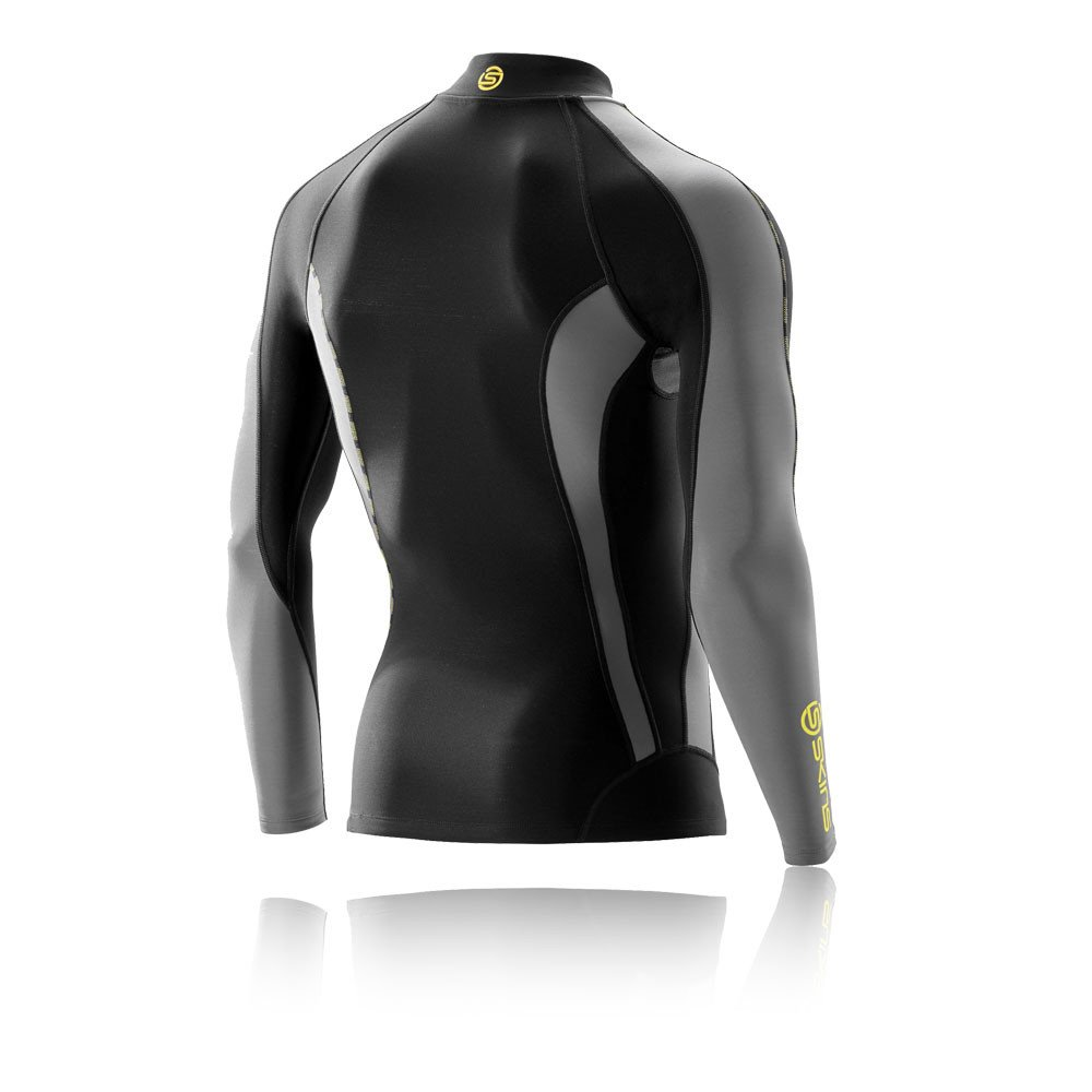 Skins Mens DNAmic Men's Thermal Compression Long Sleeve Mock Neck with Zip Top, Black/Pewter, Small by Skins (Image #2)