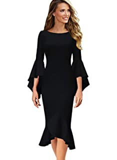 bd504cee94 VFSHOW Womens Ruffle Bell Sleeve Cocktail Party Mermaid Midi Mid-Calf Dress