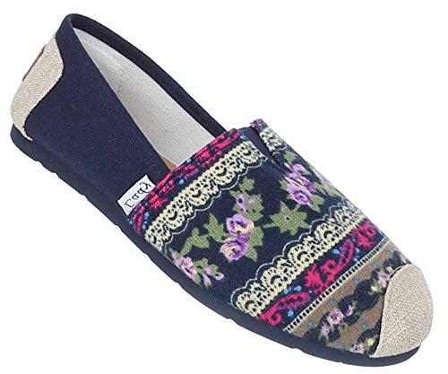 Damen Schuhe Halbschuhe Mokassins Espadrilles Bequeme Freizeitschuhe Blau