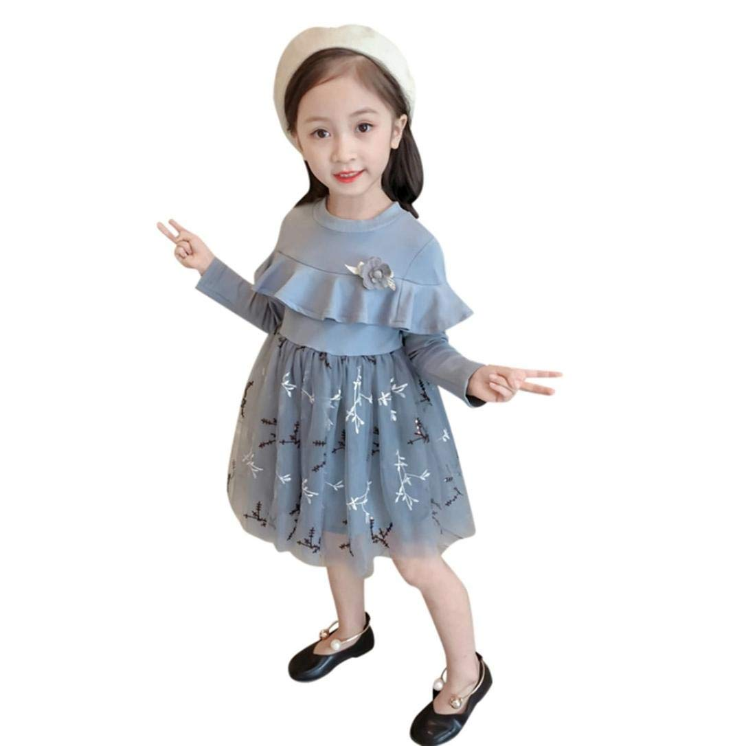 Suma-ma (18M-5T) Children Kid Girls Long Sleeve Flower Ruffles Embroidery Gray Dress- Formal or Casual,Outfits Clothes-Fasion and Lovely