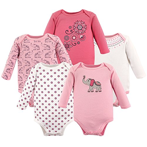 Hudson Baby Unisex Baby Long Sleeve Cotton Bodysuits, Boho Elephant Long Sleeve 5 Pack, 9-12 Months (12M) ()