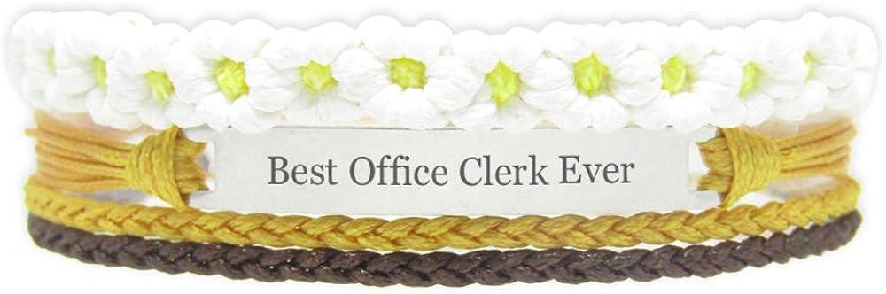 Miiras Job Engraved Handmade Bracelet for Women - Best Office Clerk Ever - White FL-YL - Made of Braided Rope and Stainless Steel - Gift for Office Clerk