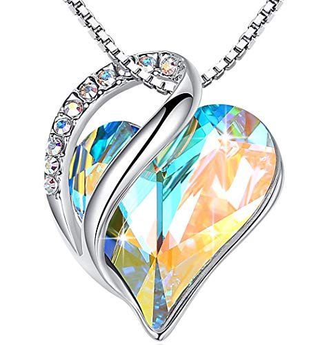 "Leafael""Infinity Love"" Heart Pendant Necklace Made with Swarovski Crystals White Opal Color April Birthstone Jewelry Gifts for Women, Silver-tone, 18″+2″, Presented by Miss New York"