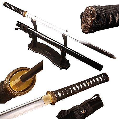 Shijian Japanese Full Tang Straight Blade Carbon Steel Unokubitsukuri Black Katana ()