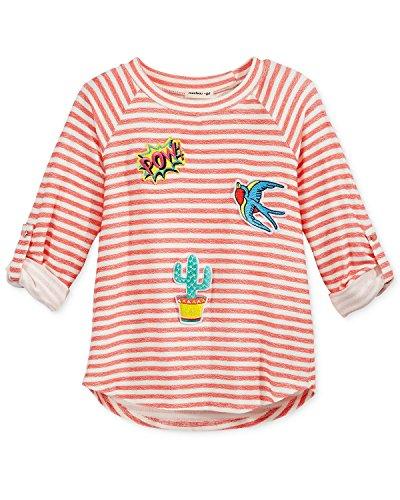 Stripe 3/4 Sleeve Big Shirt (Monteau Stripe 3/4-Sleeve Patches Top, Big Girls (7-16) (X-Large))