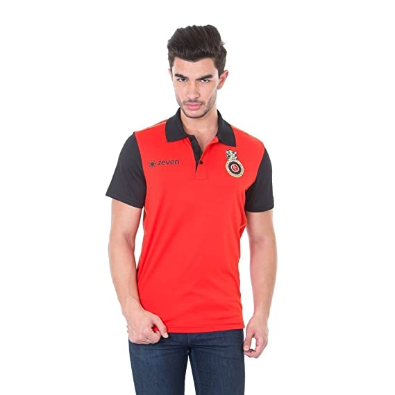 f618a50843a6 Royal Challengers Bangalore (RCB) Solid Men's Polo Neck T-Shirt - IPL17