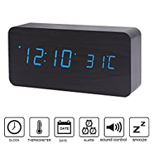 Wood-shaped Alarm Clock, Kolis Upgrade Edition Multi-function Wooden Alarm Clock LED Digital Displays Time Date And Temperature Desk Clock Shelf Clock with Sound Control (Black/Blue)