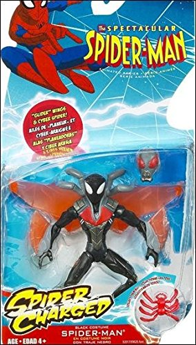Spectacular Spider-Man Animated Action Figure Black Spider-Man (Includes Wall Hanging Web)