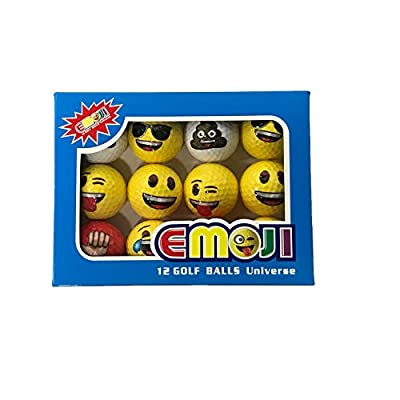 CaddiesShack Emoji Novelty Golf Balls 12 Count Box - Smile Wink Poop Thumbs Up Sunglasses Laughing