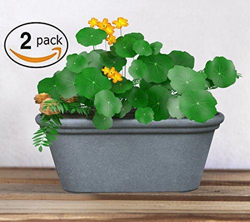 Flower Pot TerraBox Planter, 15 Inch Window Box, Outdoor and Indoor, Unbreakable Grey, 2 Pack (Stacked Flower Pots)